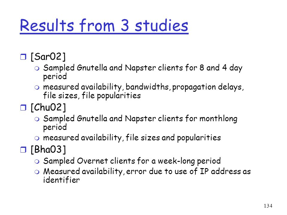 Results from 3 studies [Sar02] [Chu02] [Bha03]